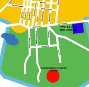 Kwadrat - Główna siedziba PWiK, Kółko - Oczyszczalnia Ścieków KRYM